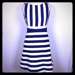 🆕 Ann Taylor 0P blue white stripe nautical dress